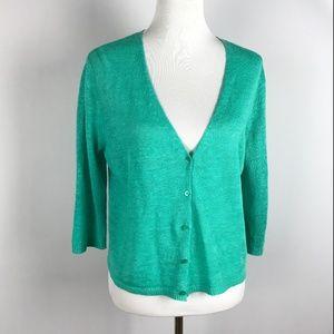Eileen Fisher Button Front Linen Cardigan Green